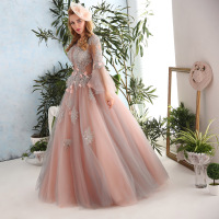 Robe De Soiree New Luxury Palace Princess Lace Flower Flare Sleeves A Line Long Prom Dress
