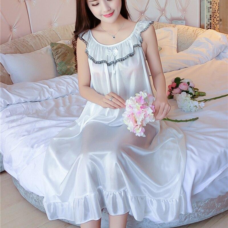 Maxi Size 4XL Ladies Sleeveless Sleepwear Satin Nightgowns 2018 Summer Womens Sexy Lace Sleepdress Sleepshirts Print Nightdress