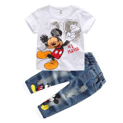Sistemas de la Ropa al por menor 2016 nuevos Muchachos del verano de Mickey Niños de Dibujos Animados de Algodón de Manga Corta Camiseta + Jeans 2 unids Traje Ropa de los cabritos