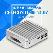 Безвентиляторный Mini PC, Celeron J1900 N2940 N2930, ОПЕРАТИВНАЯ ПАМЯТЬ 4 Г 128 Г SSD, Desktop PC Случае, Хост Настольные компьютеры С 4 * USB 2.0, 1 * USB 3.0