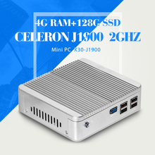 Fanless Mini PC, Celeron J1900 N2940 N2930,RAM 4G 128G SSD,Desktop PC Case,Host Desk-Top Computers With 4*USB 2.0, 1*USB 3.0