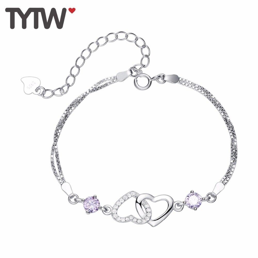 Tytw S925 AAA циркон горный Хрусталь Двойное сердце моды лучший браслет Femme подарок браслеты для женщин Серебряный браслет