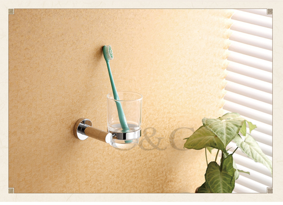 ФОТО Noble And Elegant Solid Brass And Glass Chrome Plating Bathroom Tumbler Cup Holder 1909