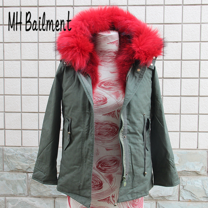 2017Children Army Green  Raccoon Fur Coat Winter Warm Thick Girls Clothing Solid Long Jackets Kids Can Remove Liner Jacket C#26 2017 children wool fur coat winter warm natural 100% wool long stlye solid suit collar clothing for boys girls full jacket t021