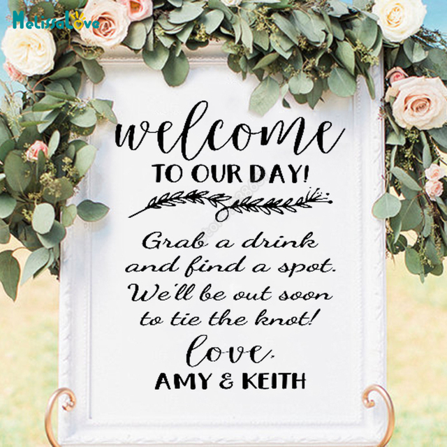 Wedding Welcome Reception Sign Vinyl Decal To Our Day Custom Name Board Sticker