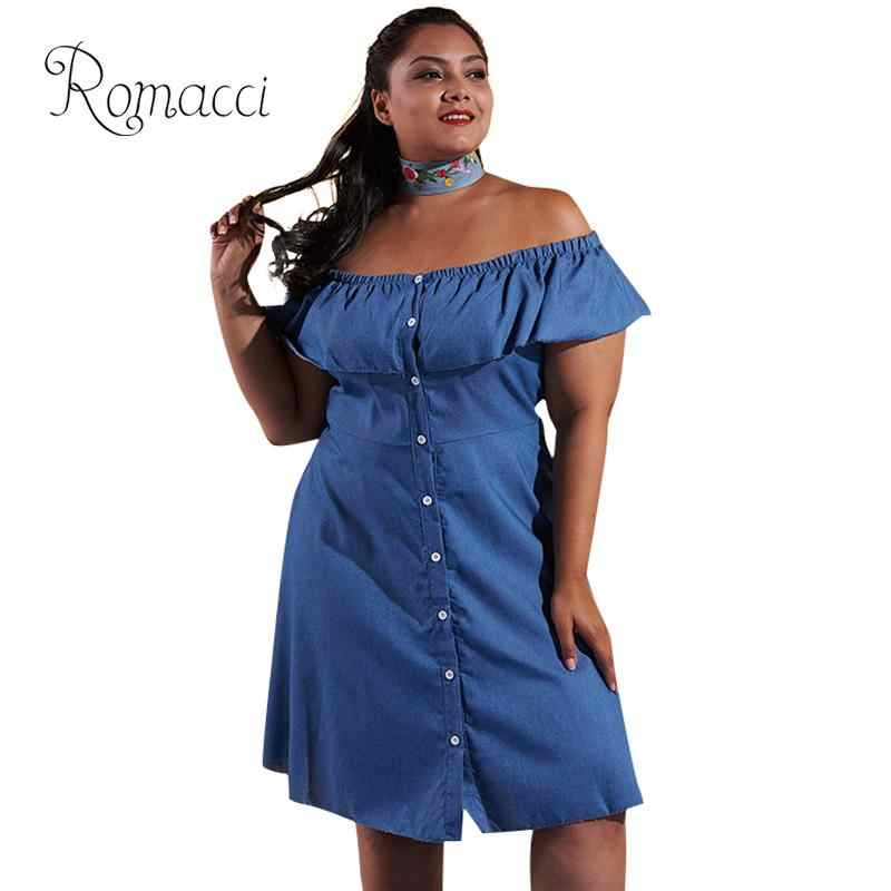 0ec7c344e4 Romacci XXXL Plus Size Dress for Women Sexy Ruffles Off Shoulder Dress  Button Front Short Sleeve