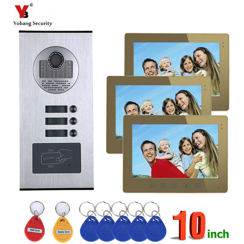 Yobang Security 3 Units Apartments Video Goalkeeper Home Door Phone Doorbell System Lcds Video Intercom For The Flats/Families