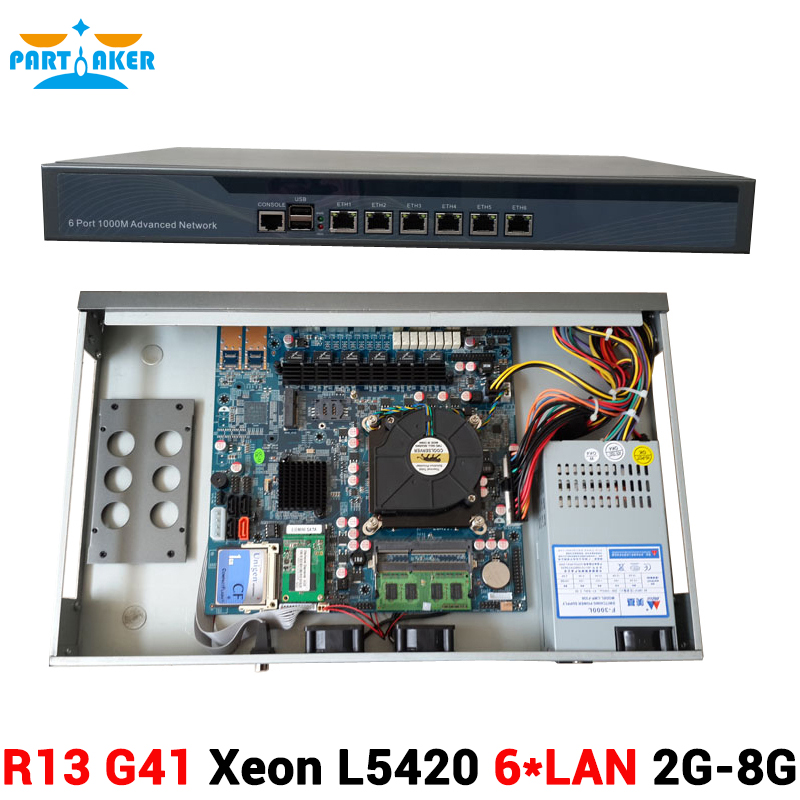 6* Intel 82574L Gigabit Ethernet 2 sets BYPASS Intel Quad Core Xeon L5420 Firewall Security Appliance with 2G RAM 8G SSD