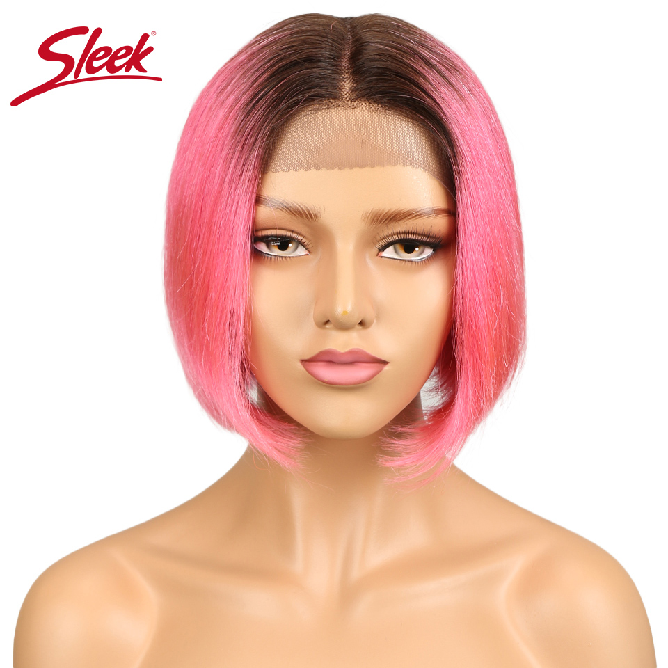 Hair Extensions & Wigs Sleek Bob Lace Front Wigs Brazilian Lace Front Human Hair Wigs For Women Human Wigs With Bangs Ombre Short Bob Wig Free Shipping Lace Wigs