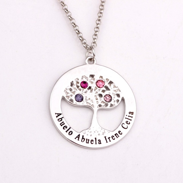 Circle tree pendant necklace with birthstones 2018 new arrival long circle tree pendant necklace with birthstones 2018 new arrival long birthstone necklaces custom made any name aloadofball Choice Image
