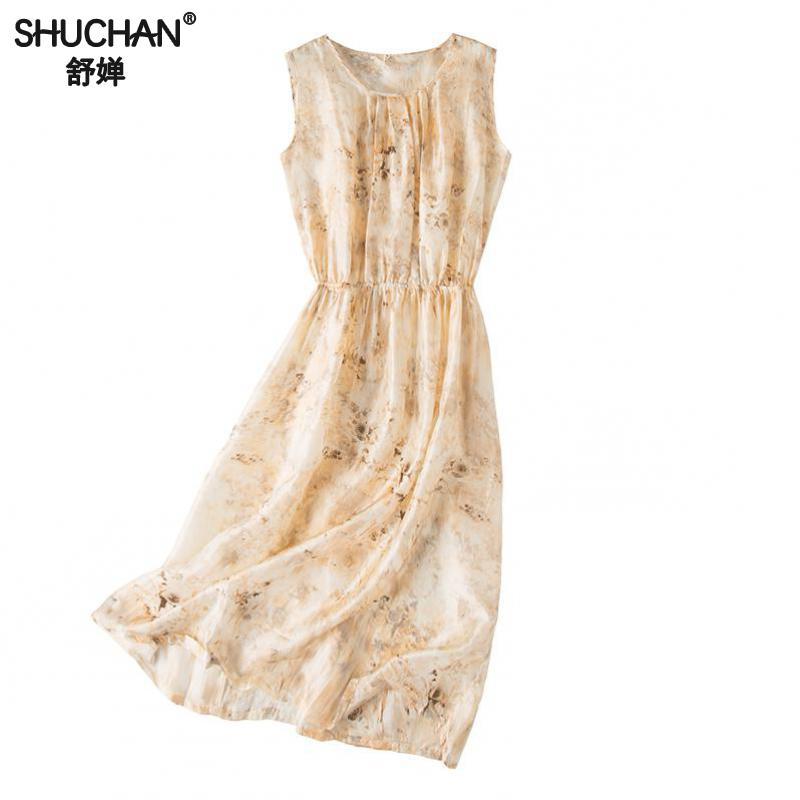 Shuchan Silk Blend Summer Dress Beach Style Print Abbigliamento Donna Estate 2019 Vestiti Sleeveless O-neck Tank dresses A6112 Price $68.23