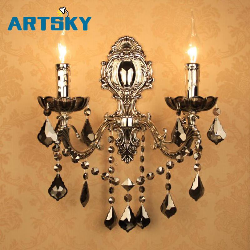 Loft Rustic black decorative wall Lamps Retro silver 2-arms Wall light dining room smoke Crystal Wall led fixture Arandela E14 rustic crystal wall lamp fixture with fabric shade for bathroom aisle bedside light e14 1 2 light led indoor wall lamps crystal