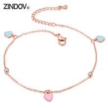 Браслеты на ногу zindov в форме сердца для женщин и девушек