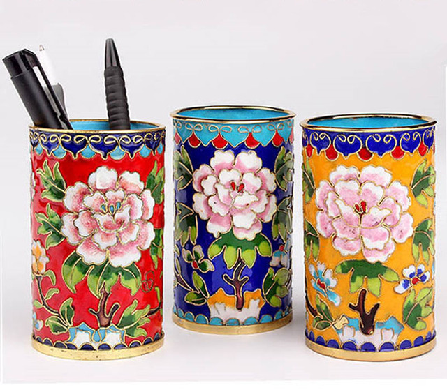 Ancient China Fine Cloisonne Pen Storage Container Box Case Stand Rack Pen  Holder For Office Pen