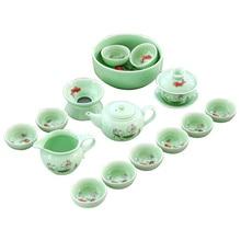 complete tea set longquan celadon porcelain kungfu cup pot fish relief of handpainted flower strainer pitcher