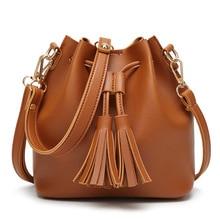 Women Tassel Bucket Bag Vintage Drawstring Shoulder Bag European Fashion Pu Leather Messenger Bags Girls Mini Crossbody Bags girls tassel flat pu crossbody bag