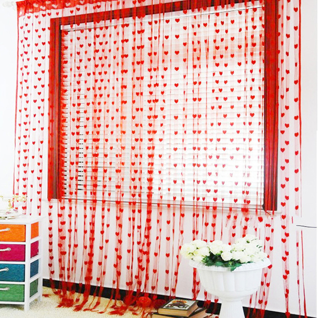 מכירה לוהטת 2 m * 1 m לב מחרוזת וילון חלון דלת מרפסת עיצוב הבית דקורטיבי סלון חדר שינה 11 צבעים