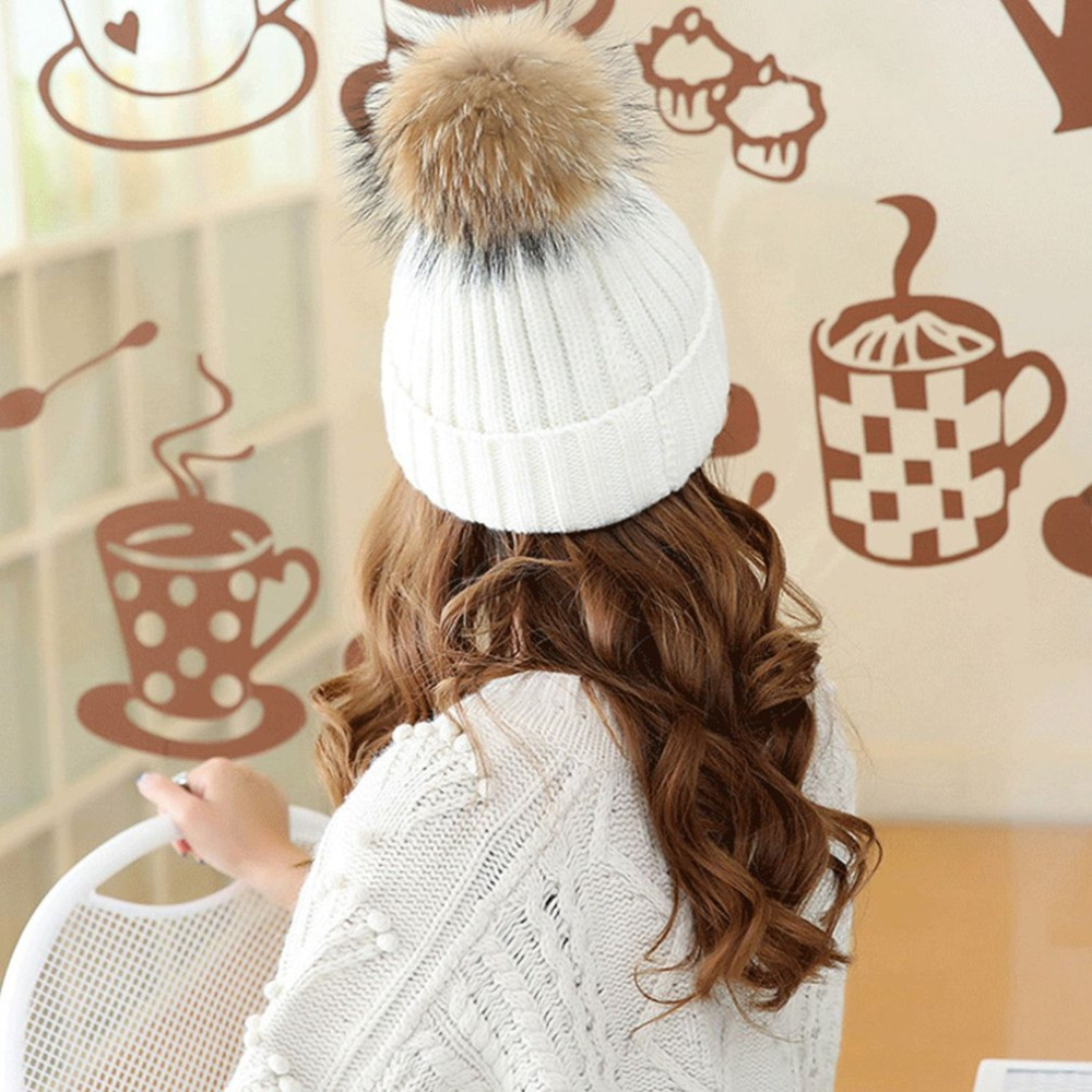 e51293d3fddf7 ... Top Quality Winter Women Wool Cashmere Hat Fashionable Design Warmth  Knitted Beanies Large Size Fox Fur ...
