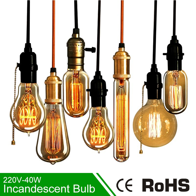40w Vintage Retro Filament Edison Tungsten Light Bulb: Aliexpress.com : Buy E27 220V Incandescent Edison Lamp