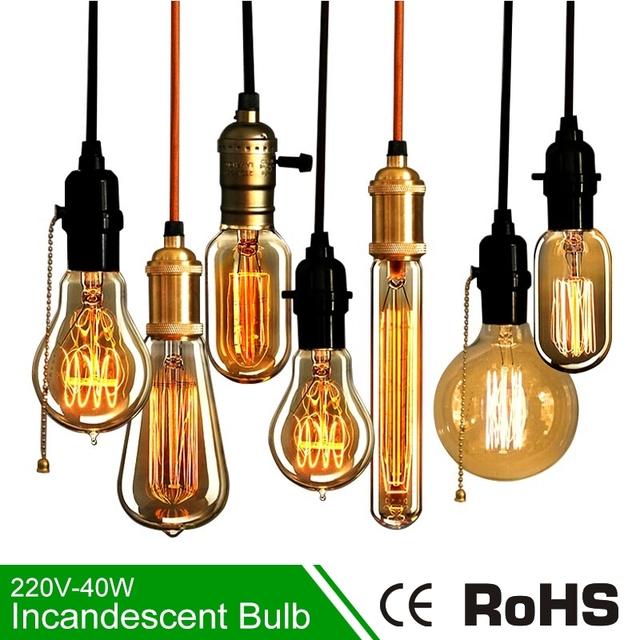 Retro Edison Light Bulb Vintage Incandescent Bulb Edison Lamp E27 220V 40W A19 A60 ST64 T185 G80 G95 Filament pendant light