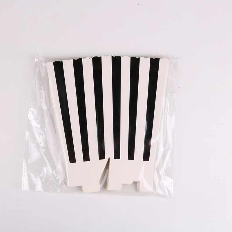 6ชิ้น/ล็อตง่ายสีดำและสีขาวกล่องPopcornวันเกิดงานแต่งงานBaby Shower Partyตกแต่งเด็กอุปกรณ์เหตุการณ์