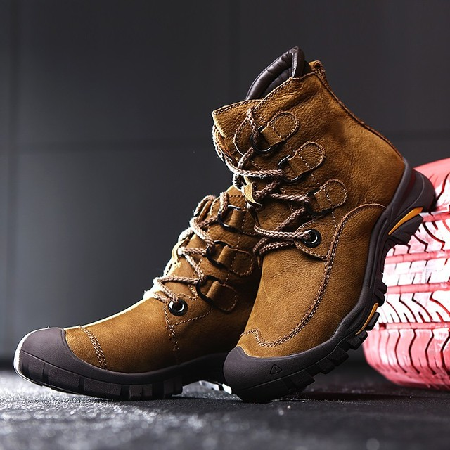 47a077e542 Array Winter Ankle Boots mens Genuine Leather Snow Boots Big Size 38-49  Outdoor Warm