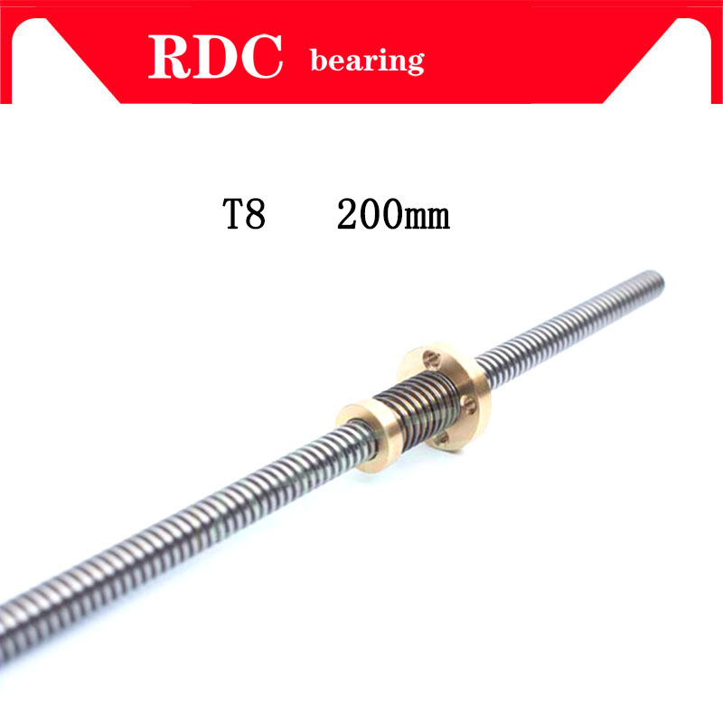 High quality Anti-Backlash Nut + 200 mm T-type Stepper Motor Trapezoidal Lead Screw 8MM Thread 8mm T8 For 3D Printer & CNC NEW 3d printer thsl 400 8d lead screw dia 8mm pitch 1mm lead 1mm length 400mm with copper nut free shipping