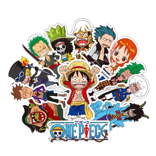 One Piece sticker 48PCS cool Anime cartoon Luffy waterproof suitcase boxes laptop guitar luggage bicycle toy lovely stickers