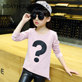 Children'S Clothing New Spring 2017 Letters Printed Cotton Korean Version Long - Sleeved Girls Round Neck Solid Color T-Shirts