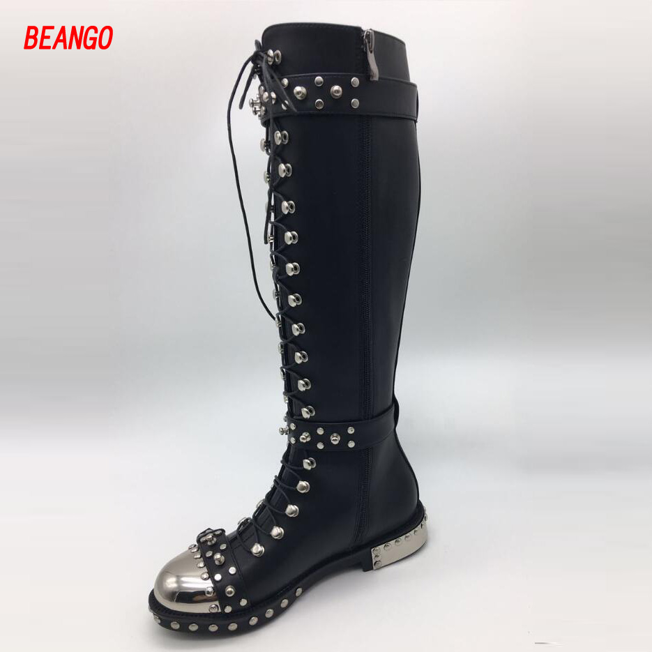 BEANGO Fashion Metal Toe Rivets Women Boots Lace Up Round Toe Low Heel Motorcycle Booties Casual Shoes Woman Big Size 34-43EU booties combat lace up flat suede round toe fall military front casual ankle boots autumn work women shoes gray low heel 2017