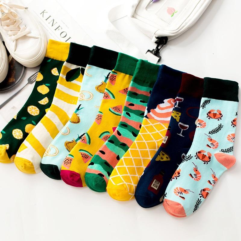 SP&CITY Ins Popular Cartoon Fruit Short Socks Cotton Casual Hipster Happy Harajuku Socks Women Unisex Vintage Art Crew Socks