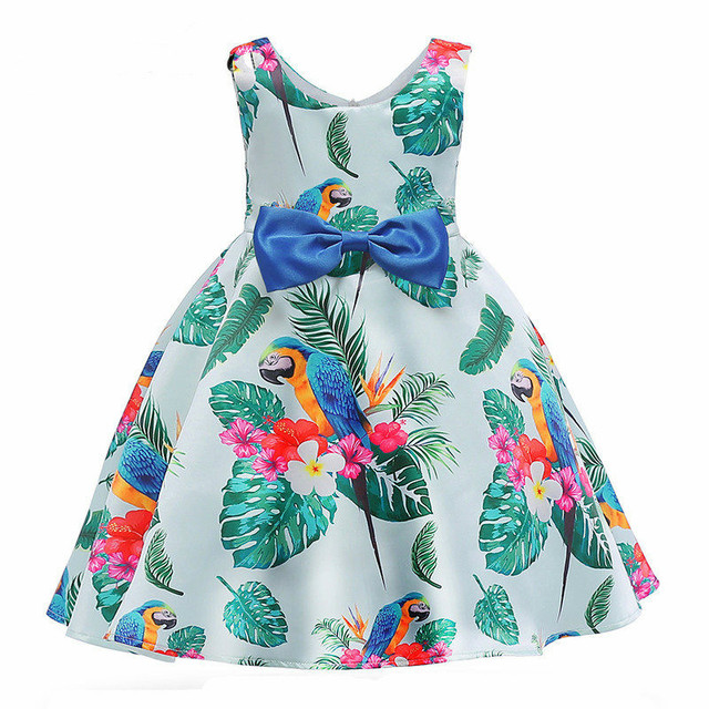 2018 Girls Dress With Bow European Style Vestido De Festa New Party Dress For Girl Girl Summer Clothes Print Princess Dress
