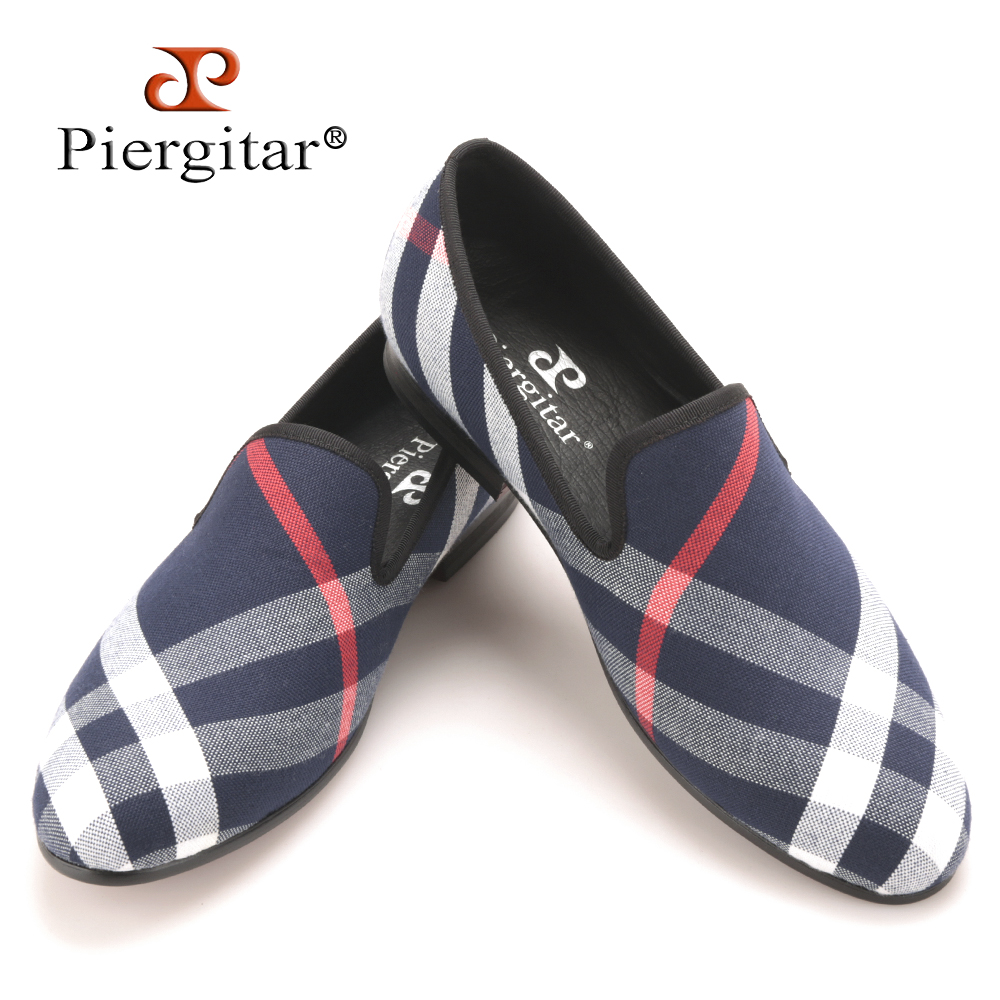 piergitar blue and white plaid canvas shoes luxurious