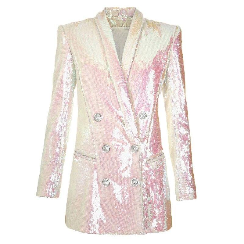 Fashion Runway 2019 Designer Elegant Sequin Blazer Women Double Breasted Shawl Collar Shimmer Long Blazer Jacket