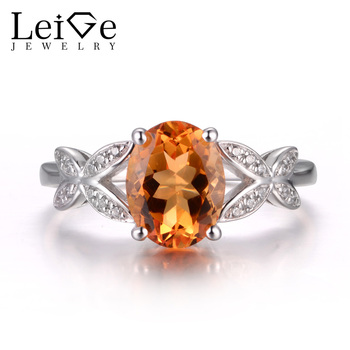 LeiGe Jewelry Real Natural Citrine Anniversary Rings Oval Cut Yellow Gems Ring Solid 925 Sterling Silver Lovely Rings for Girls