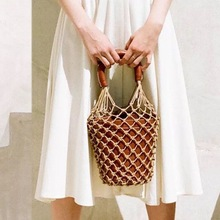 Women Net Bag Luxury Designer Bucket Handbags Fashion Hollow Out Leather  Tote Summer Travel Beach Bag 9eb07134254c8