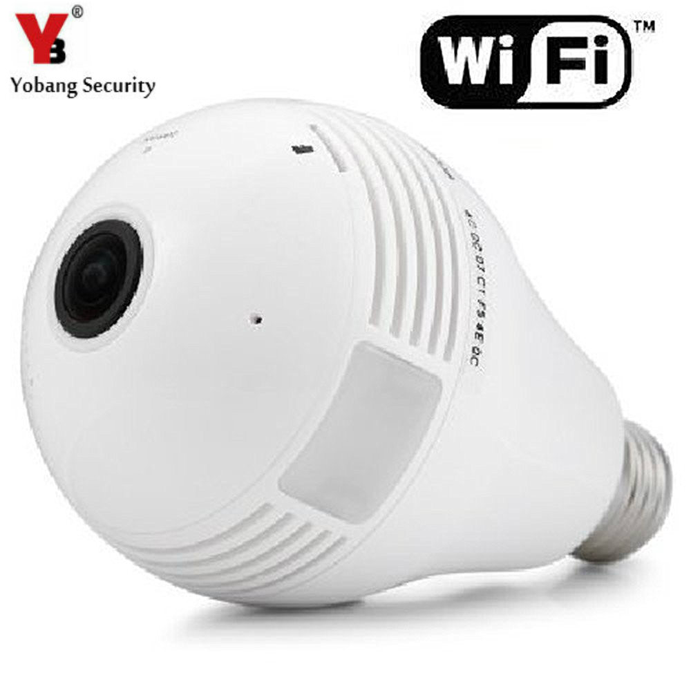 YobangSecurity 960P Fisheye Panoramic Wifi Wireless P2P Network IP Camera LED Bulb Light Home Security System For IOS Android new hd 3mp led bulb light wireless camera fisheye panoramic wifi network ip home security camera system for ios android p2p