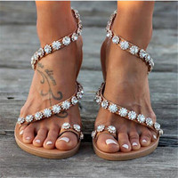 Women Sandals Bling Crystal Summer Shoes Woman Beach Flat Sandals Plus Size Flip Flop Ladies Soft Bottom Slippers Female 43