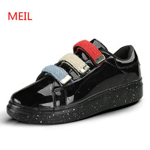 Patent Leather Casual Shoes Men Slip On Loafers Metal Versa  Man Shoes Men Flats sneakers chaussure homme loves platform shoes