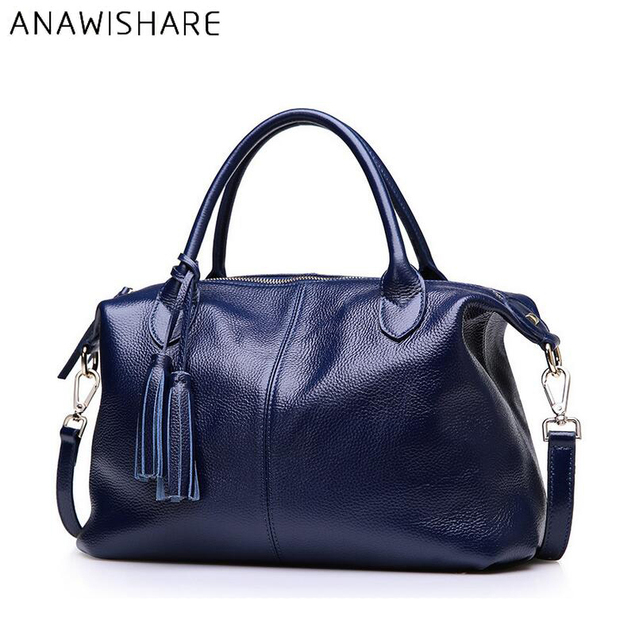 f5f40c1e38 ANAWISHARE Women Handbag Genuine Leather Shoulder Bag Cowhide Real Leather Ladies  Totes Cow Leather Crossbody Bag
