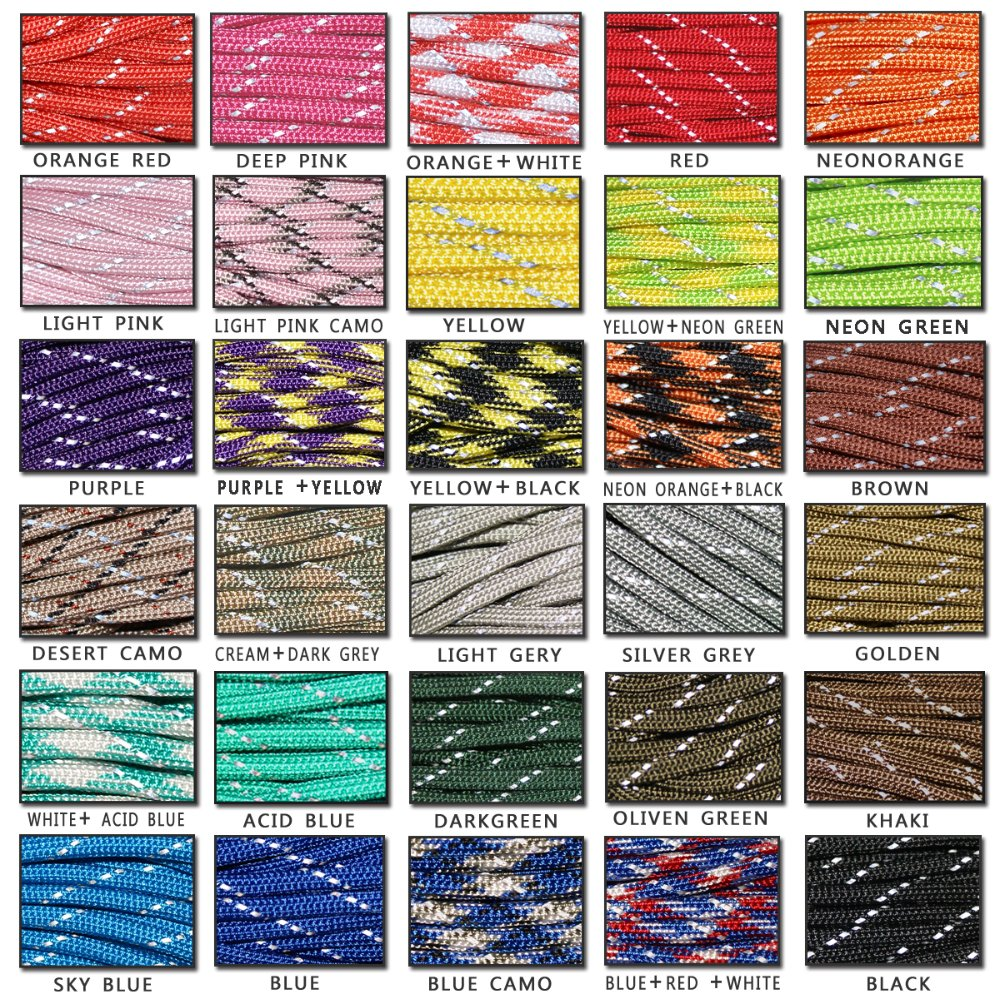 YOUGLE Reflective Paracord Lanyard-Rope 100ft Cores Strands 550 Lb 8 One-Piece
