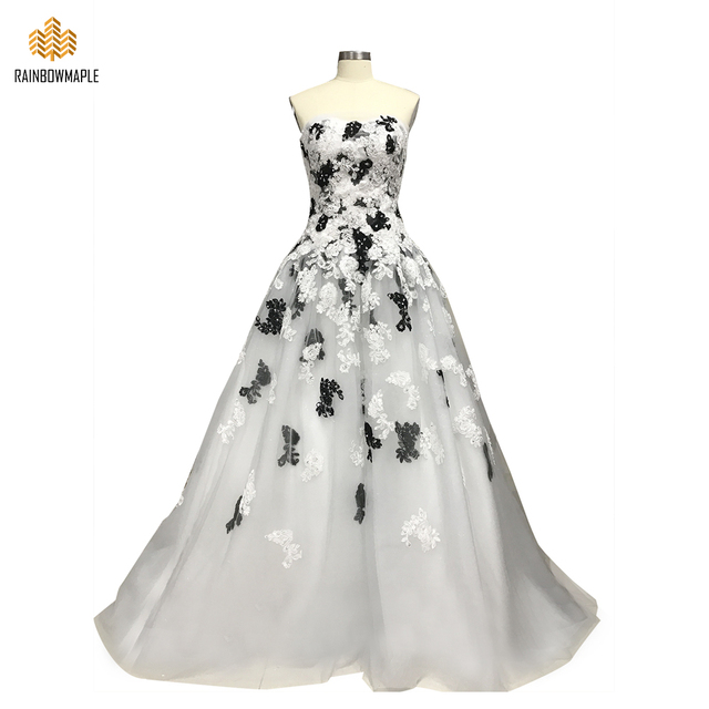 f98901c13b Unique Black And White Lace Appliques Beaded Strapless Ball Gown Evening  Dresses Formal Corset Bodice Long Evening Party Gowns