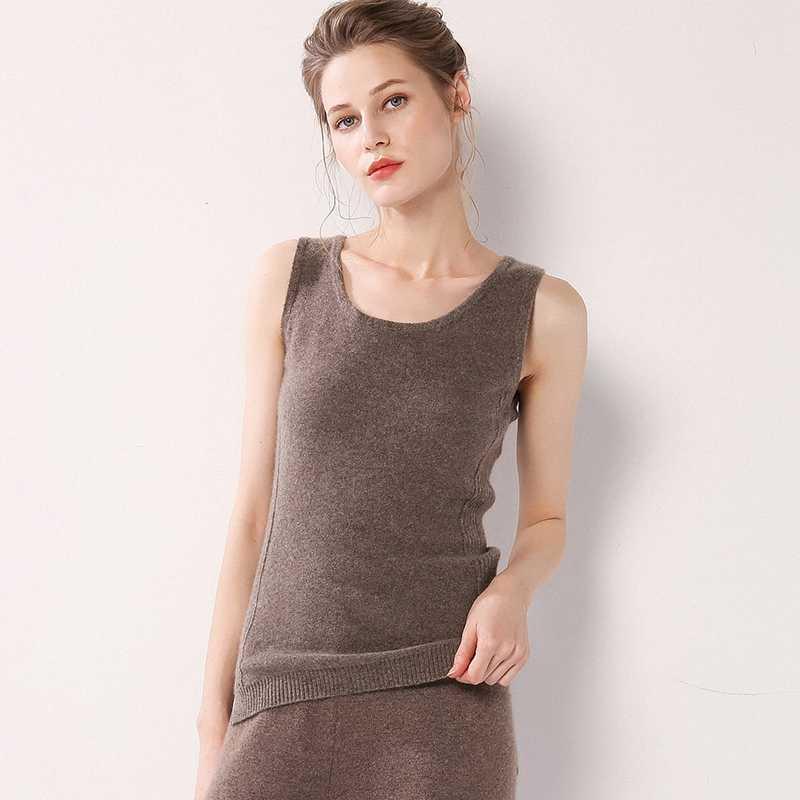Phụ nữ Sexy Vest Tops 100% Tinh Khiết Cashmere Màu Đen O-Cổ Không Tay Tank Tops Ladies Yếm Trong Áo Sơ Mi Dưới Phụ Nữ Xe Tăng