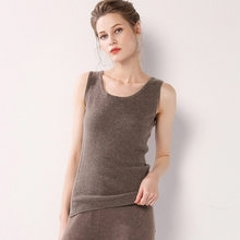 31b9c5af1a14c Women Sexy Vest Tops 100% Pure Cashmere Black O-Neck Sleeveless Tank Tops  Ladies