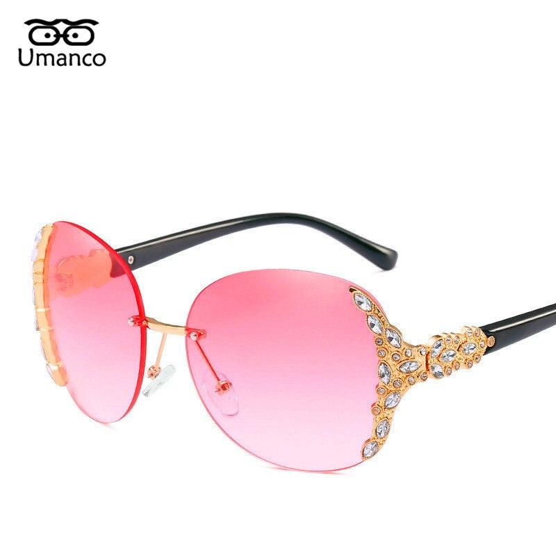 606f52bc4c Umanco vintage rhinestone redondo rimless gafas de sol mujer deslumbrante  gradiente espejos gafas de gran tamaño metal plástico piernas gafas