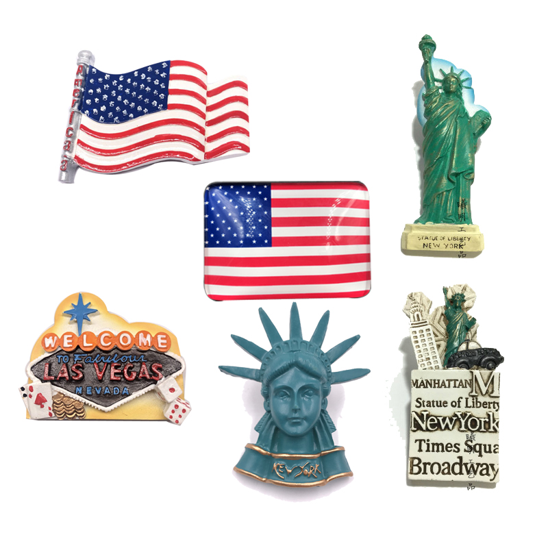 Resin Fridge Magnet United States Flag New York Tourist Souvenir Empire Building Statue of Liberty Refrigerator magnets Stickers image