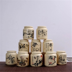 Ceramic Storage Bottles Mini Kitchen Spice Ceramic Jars for Food Containers Decoration Tea Sugar Coffee Storage Jars with Cover