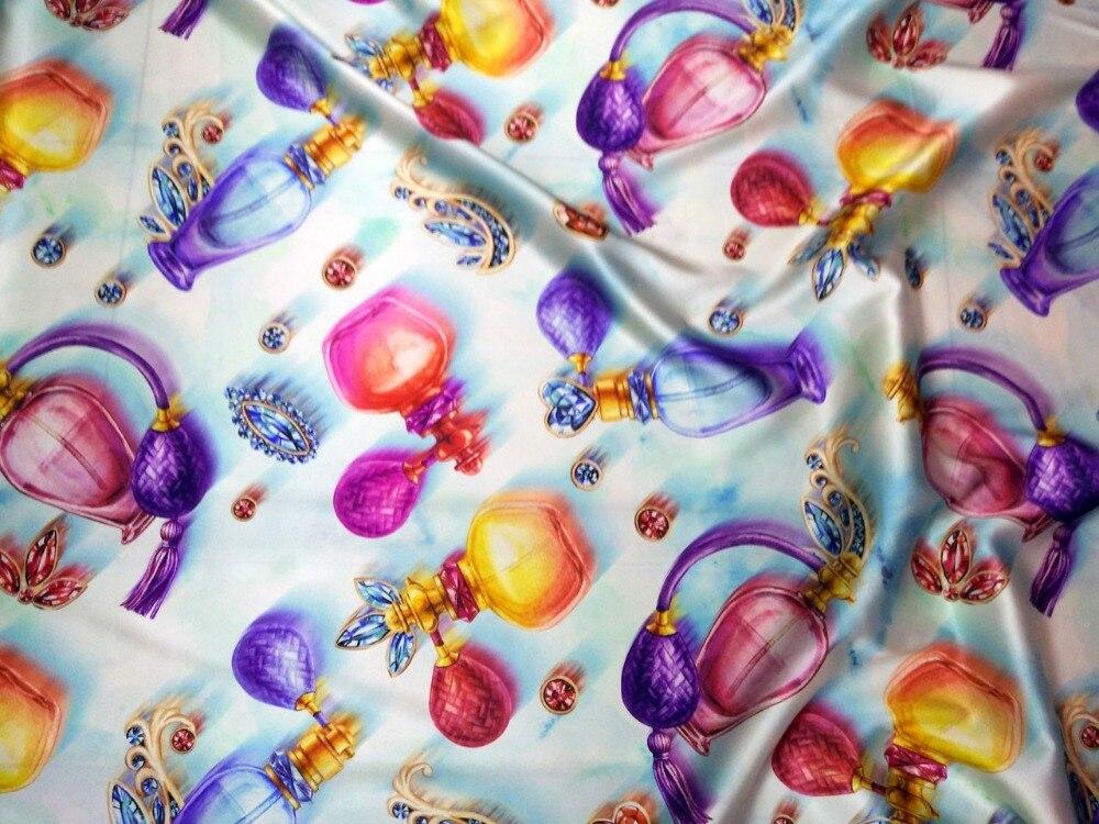 2018 mode Super haut de gamme France fleurs numériques imprimé lourd extensible tissu de soie naturelle couette tissus tissus tissés telas