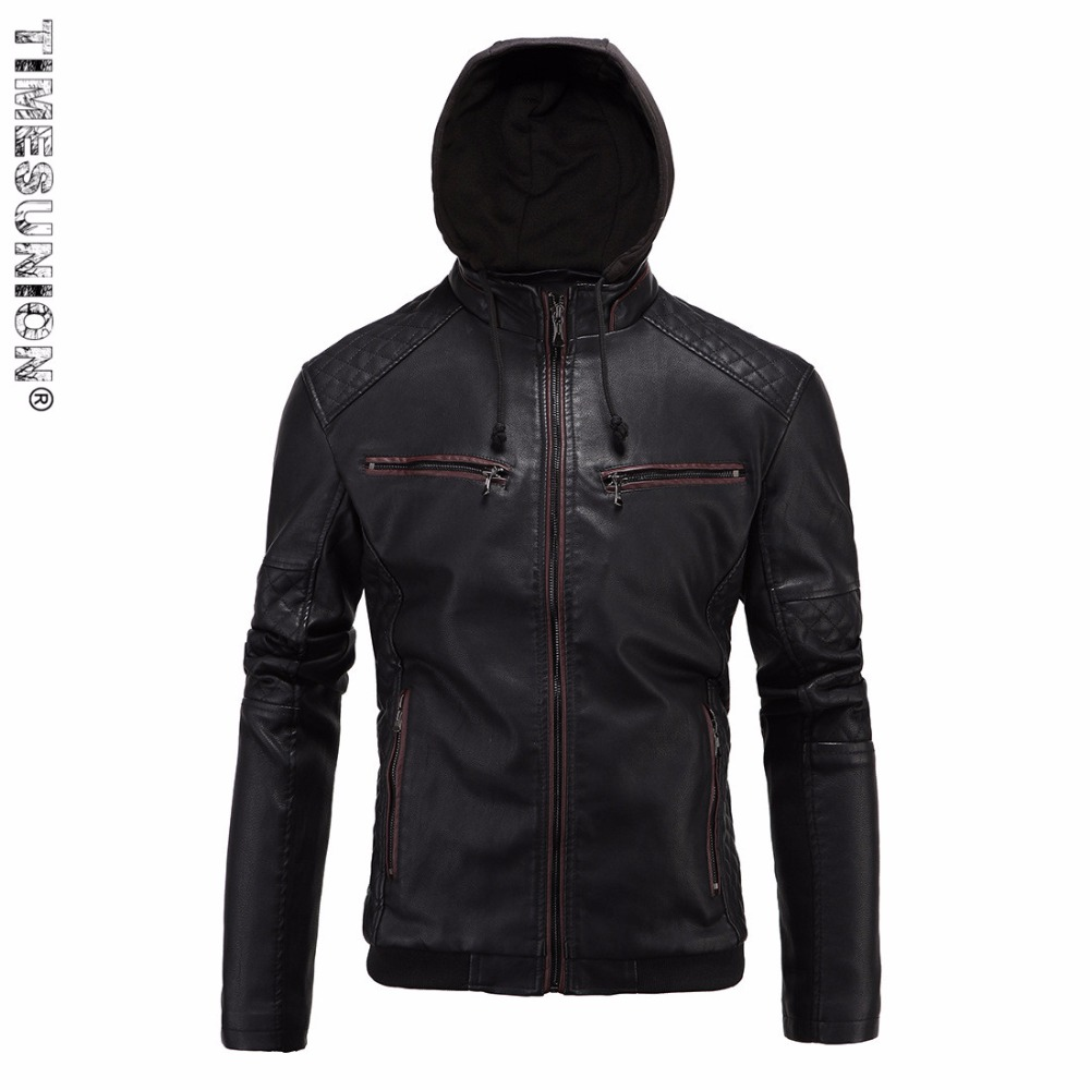 Faux leather moto jacket with hoodie