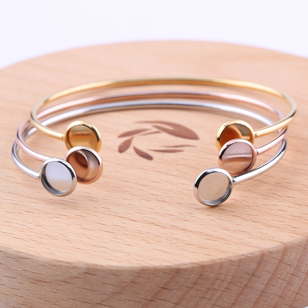 Reidgaller 2pcs 8mm Cabochon Bracelet Blanks Stainless Steel Bangle Base Settings Diy Bracelets Making Accessories Rose Gold